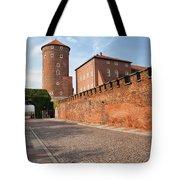 Sandomierska Tower And Wawel Castle Wall In Krakow Tote Bag