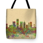 Skyline Of Detroit Usa Tote Bag