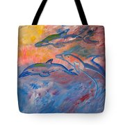 Soaring Dolphins Tote Bag