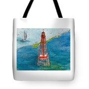 Sombrero Key Lighthouse Fl Chart Art Cathy Peek  Tote Bag
