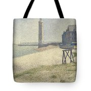 The Lighthouse At Honfleur Tote Bag by Georges Pierre Seurat