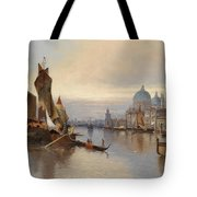 Venetian Scene With A View Of Santa Maria Della Salute Tote Bag