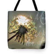 001 Make A Wish At Sunset With Text Tote Bag