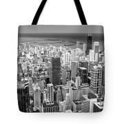 0036 Chicago Skyline Black And White Tote Bag