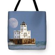 0186 Moon Over Milwaukee Breakwater Lighthouse Tote Bag