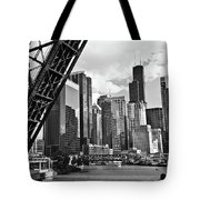 0365 North Branch Chicago River Black And White Tote Bag