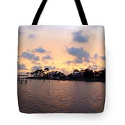0530 Sunset Tree Silhouette Reflections Tote Bag