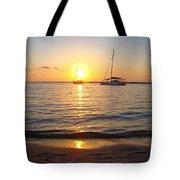 0531 Sailboats At Sunset On Sound Tote Bag