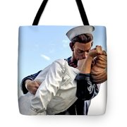 Closeup Nurse And Sailor Kissing Statue Unconditional Surrender Tote Bag