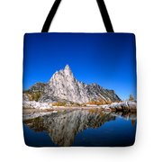 Prusik Peak Reflects In Gnome Tarn Tote Bag