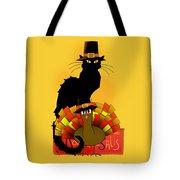Thanksgiving Le Chat Noir With Turkey Pilgrim Tote Bag