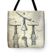 1883 Corkscrew Patent Drawing Tote Bag
