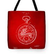 1916 Pocket Watch Patent Red Tote Bag