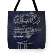 1950 Motorcycle Patent Drawing Blue Tote Bag