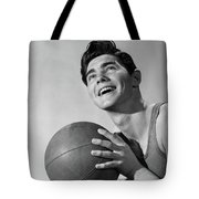 1950s Smiling Boy Holding Basketball Tote Bag