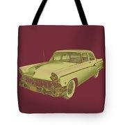 1956 Ford Custom Line Antique Car Pop Art Tote Bag