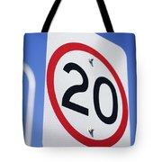 20km Road Sign Tote Bag