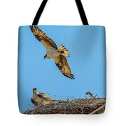 3 Ospreys At The Nest Tote Bag
