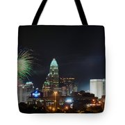 4th Of July Firework Over Charlotte Skyline Tote Bag by Alex Grichenko