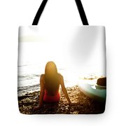 A Beautiful Young Woman Relaxes Tote Bag