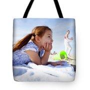 A Cute Little Hispanic Girl In A Summer Tote Bag