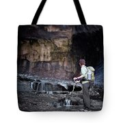A Female Hiker With Tekking Poles Tote Bag