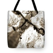 A Female Mountain Biker Tote Bag