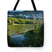 A Fly Fisherman Fishes A High Alpine Tote Bag