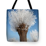 A Frosted Willow On A Very Cold And Bright Winter Day Tote Bag