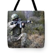 A Georgian Soldier Provides Security Tote Bag