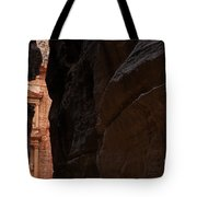 A Glimpse Of Al Khazneh From The Siq In Petra Jordan Tote Bag