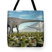 A Herd Of Diplodocus Sauropod Dinosaurs Tote Bag