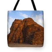 A Landscape Of Rocky Outcrops In The Desert Of Wadi Rum In Jordan Tote Bag