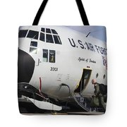 A Lc-130h Hercules Of The New York Air Tote Bag by Timm Ziegenthaler