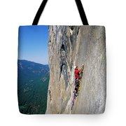 A Man Aid Climbing Tote Bag