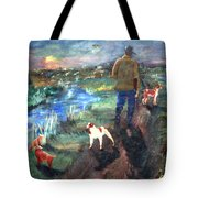 A Man And His Dogs Tote Bag