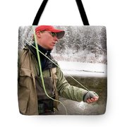 A Man Fly Fishing On The Cache La Tote Bag