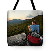 A Man Hikes Along The Appalachian Trail Tote Bag