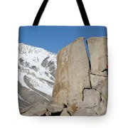 A Man Sport Climbs In Bishop Tote Bag