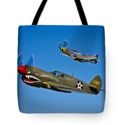 A P-40e Warhawk And A P-51d Mustang Tote Bag