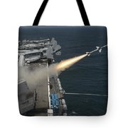 A Rim-7 Sea Sparrow Missile Is Launched Tote Bag