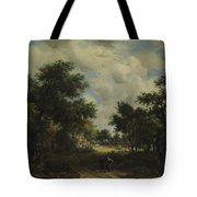 A Road Winding Past Cottages Tote Bag