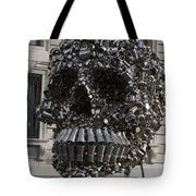 A Skull Sculpture Made Of Cans And Metal Along The Grand Canal Tote Bag