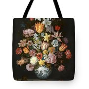 A Still Life Of Flowers In A Wan Li Vase Tote Bag