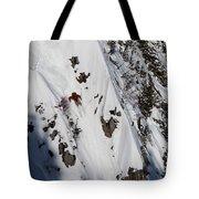 A Telemark Skier In A Narrow Chute Tote Bag