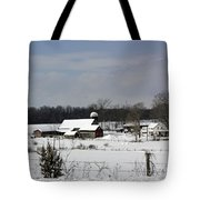 A Wintery View Of A Farm On Goode Street Tote Bag