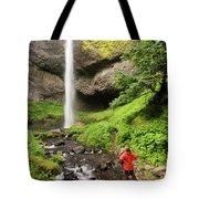 A Woman Admires Latourel Falls On June Tote Bag