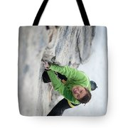 A Woman Climbs The Line 5.9 At Lovers Tote Bag
