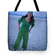A Woman Having Fun On The Cracked Earth Tote Bag