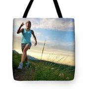 A Woman Trail Running Near Boulder, Co Tote Bag
